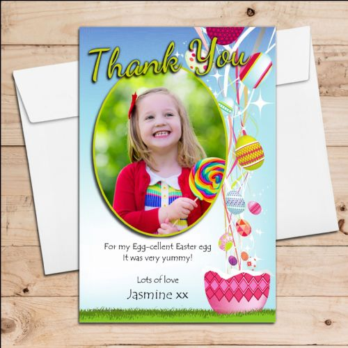 10 Personalised Girls Boys Happy Easter Egg PHOTO Thank you Post Cards N12